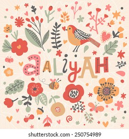 Bright card with beautiful name Aaliyah in poppy flowers, bees and butterflies. Awesome female name design in bright colors. Tremendous vector background for fabulous designs