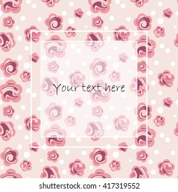 Bright card with cute flowers. Floral template.