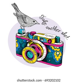 Bright card. Vintage Camera in a floral pattern with a bird. Vector illustration.