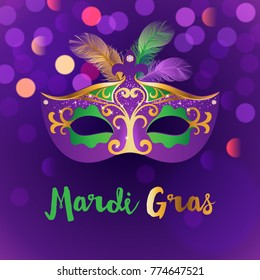 Bright carnival background with mask. Concept design for poster, greeting card, party invitation, banner or flyer. Vector Illustration.