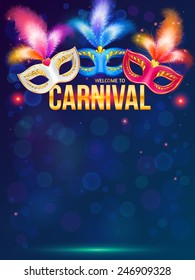 Bright carnival masks on dark blue background vector poster template