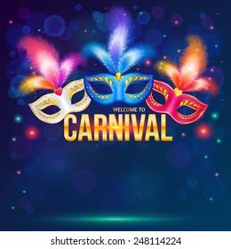 Bright carnival masks on dark blue background, vector flyer template. Mardi Gras