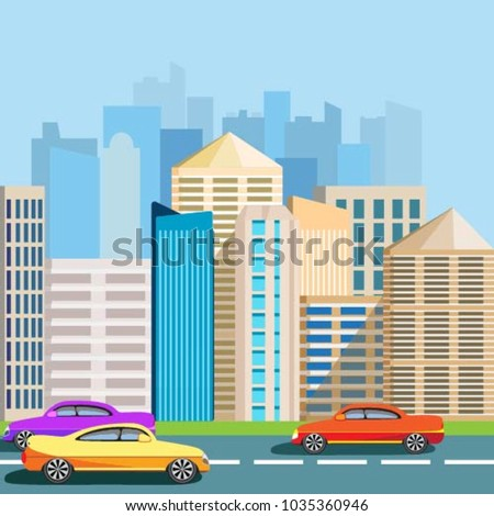 f5d2796624 Bright cars on the road. city with skyscrapers. Buildings under the sun and  blue sky. Vector illustration - Vector