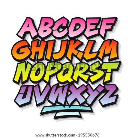 Bright Cartoon Comic Graffiti Doodle Font Alphabet Vector