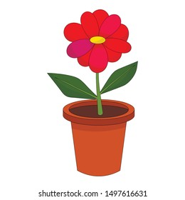 Bright cartoon flower in the pot isolated on white background. Vector illustration.