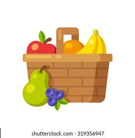 Bright cartoon fruit basket icon (apple, orange, bananas, pear and blueberry). Flat vector illustration.
