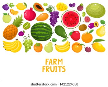 Bright cartoon fruit farm market banner on white background. Vector illustration of healthy organic food illustration for grocery shop label, food packaging design, poster, menu cover, web pages.