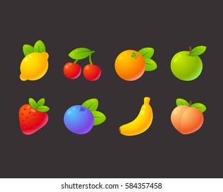 Bright cartoon fruit icon set: apple, strawberry, orange, peach, banana, cherry, lemon, blueberry. Game or app design elements vector illustration.