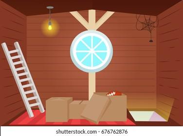 Bright cartoon interior attic. Vector flat illustration
