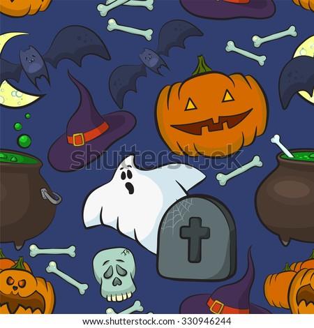 Bright Cartoon Pattern For Halloween Vector Seamless Pattern Pumpkin Ghost Bat