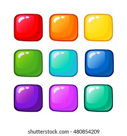 Bright cartoon rainbow vector buttons for web or game design