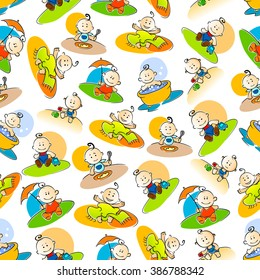 Bright cartoon seamless pattern with cute baby boys playing outdoors, beautiful girls taking bath and little child eating at the table colorful sketches over white background
