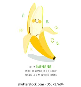 Bright cartoon style fruit element banana design, with geometric hand drawn letters. can be used for invitations, card, posters and other design