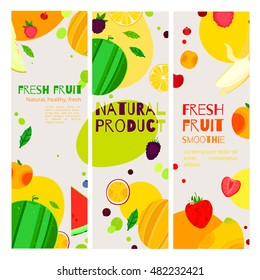 Bright cartoon style fruit, vegetarian banner design. can be used for invitations, card, posters and other design