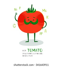 Bright cartoon style vegetable element tomato design, with hand drawn letters. can be used for invitations, card, posters and other design