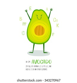 Bright cartoon style vegetable element avocado design, with geometric hand drawn letters. can be used for invitations, card, posters and other design