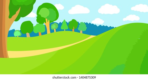 Bright cartoon summer fields and forest trees landscape with beautiful sky. Vector illustration.