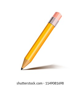 Bright cartoon yellow pencil with pink eraser, icon on white