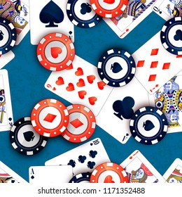 Bright casino chips and poker cards on blue table, seamless pattern