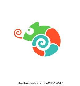 Bright chameleon. Logo. Isolated chameleon on white background. Vector illustration EPS10