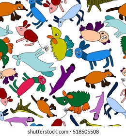 Bright, cheerful, colorful pattern with funny animals. Vector illustration.