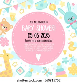 Bright, cheerful invitation to baby shower  party. Template invitation to a children's party for girls and boys.