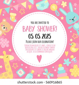 Bright, cheerful invitation to baby shower  party. Template invitation to a children's party for girls.