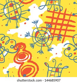 Bright cheerful vector seamless background with whimsical shapes