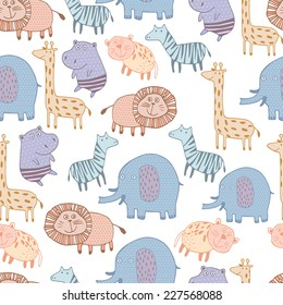 Bright childish seamless pattern with lion, tiger, zebra, hippopotamus, elephant.Great for children bedroom wallpaper