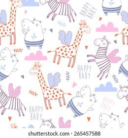 Bright childish seamless pattern with lion, tiger, zebra, hippopotamus, elephant.Great for children bedroom wallpaper
