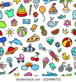 Bright children background. Seamless pattern with cute hand drawn elements