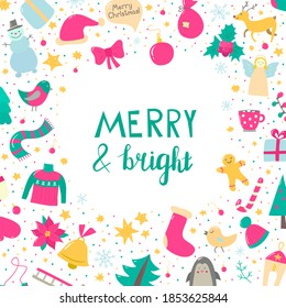 Bright Christmas illustration. Ideal for greeting cards, posters, invitations, web sites, posts in social media, flyers, booklets, banners, certificates, bags, packaging. Create Christmas spirit!
