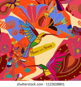 Bright collage in a modern style of flowers, birds, lettering. Seamless pattern.
