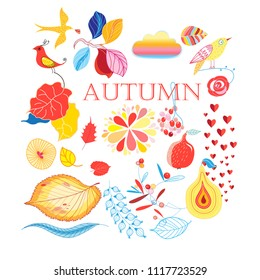 Bright collection of autumn elements on a white background