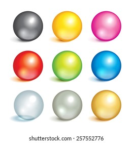 Bright collection of colorful balls of different colors and material, metal, glass, silver, gold.