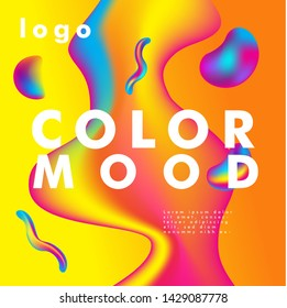 Bright colo Summer poster. Magazine cover. Club night party flyer. Abstract gradients waves background-vector