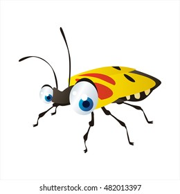 bright color cool cartoon illustration of insect. For logos or mascots. yellow bug