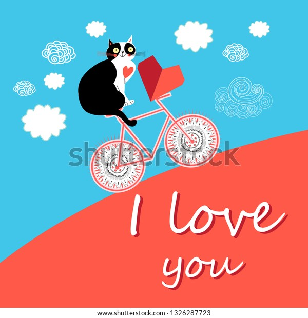 Bright color greeting card for Valentine's Day with a cat in love on a bicycle and a heart
