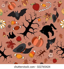 Bright color Halloween seamless pattern. Great for cards, party invitations, wallpaper, holiday design.
