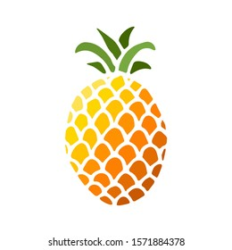 Bright color icon of pineapple fruit with leaf isolated on white background. Sweet tropical fruit. Simple minimal flat style. Logo design. Symbol exotic summer, vitamin, healthy. Vector illustration