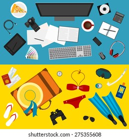 bright color illustration in trendy flat style with sets of objects that modern people use in everyday life and during rest for use in design card, poster, banner, placard, billboard