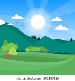 bright color landscape with mountains on background