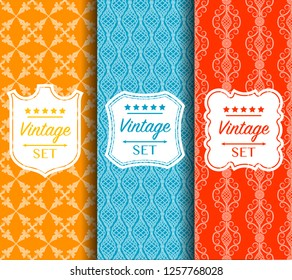 Bright color pattern made of forged elements. Vector illustration. Abstract elegant geometric design. Universal background for packaging, postcards, printing. Label set