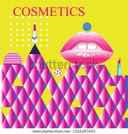 Bright color poster advertising with lips fashion cosmetics retro style. Design for shops, websites or business cards.