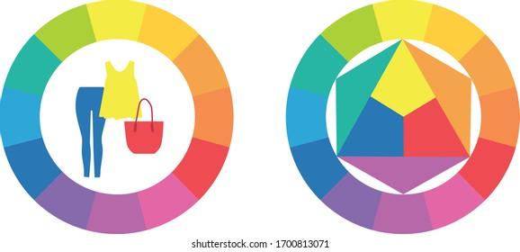 Bright color wheel. Vector illustration guide for fashion stylist.