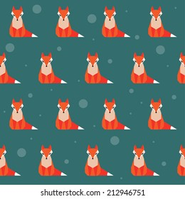 bright colored abstract geometric cartoon fox seamless pattern background