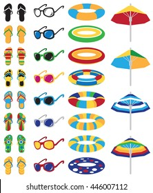 bright colored beach icons on a white background: flip flops, floaties, sunglasses and a umbrella