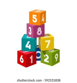 Bright colored bricks building tower. Block vector illustration on white background. Numeral cubes with numbers.