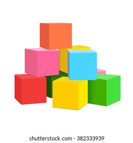 bright colored children cubes on a white isolated background. vector