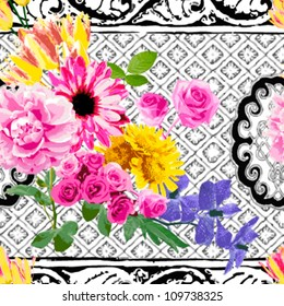 Bright colored flower on the background in black and white.  seamless
